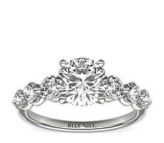 铂金浮钻石订婚戒指<br>(3/4 克拉总重量)