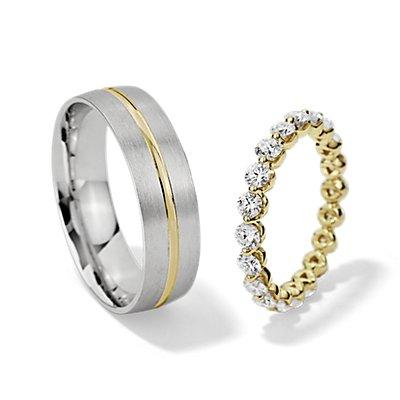 Ensemble bague d'éternité diamant flottant et anneau brossé avec incrustation en or jaune et blanc 14carats
