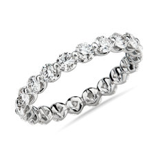 14k 白金浮动钻石永恒戒指<br>(1 1/2 克拉总重量)