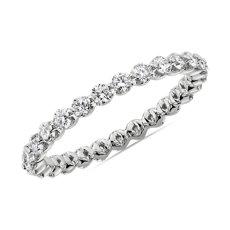 新款 14k 白金浮动钻石永恒戒指<br>(3/4 克拉总重量)