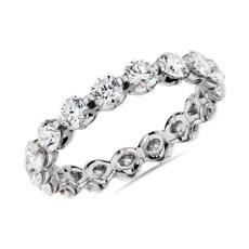 新款 14k 白金浮動鑽石永恆戒指 - I/SI2 (2 克拉總重量)