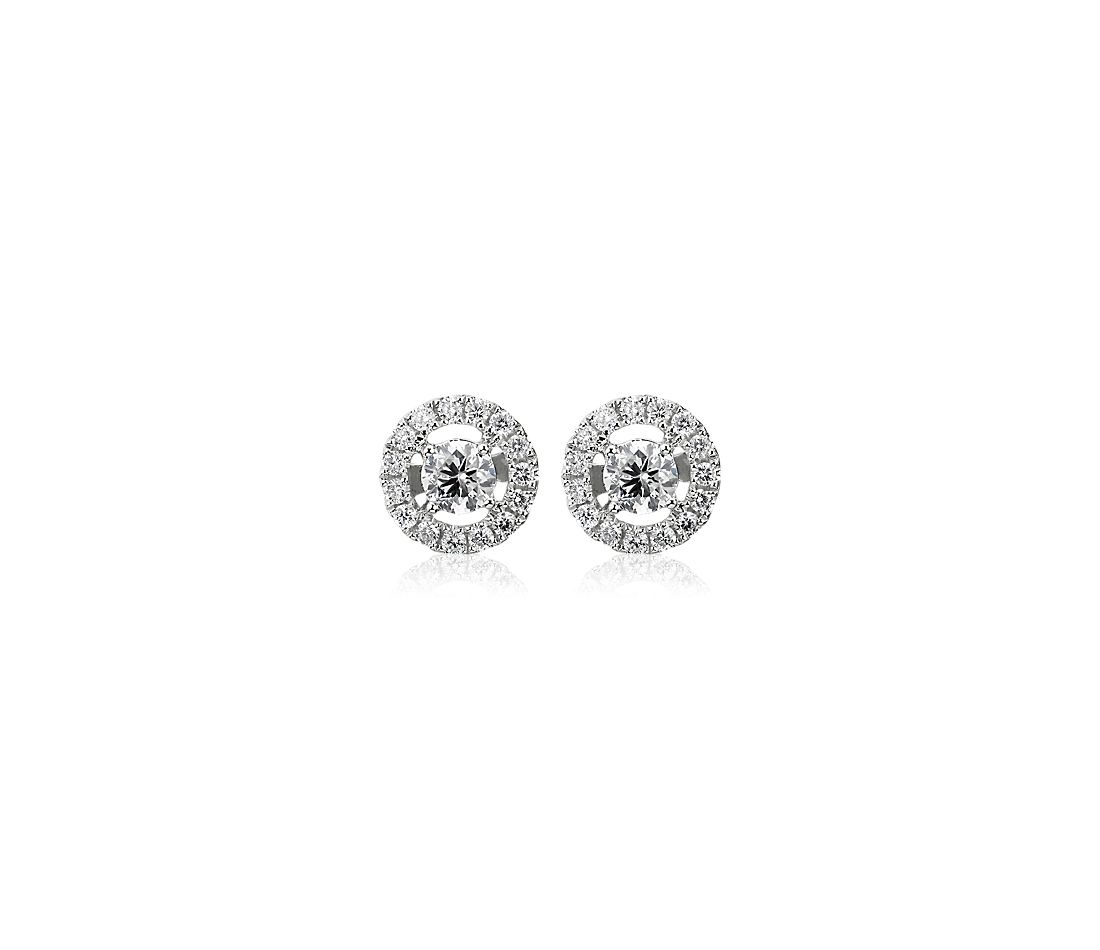 14k 白金Floating Diamond Halo Stud Earrings(1/2 克拉總重量)