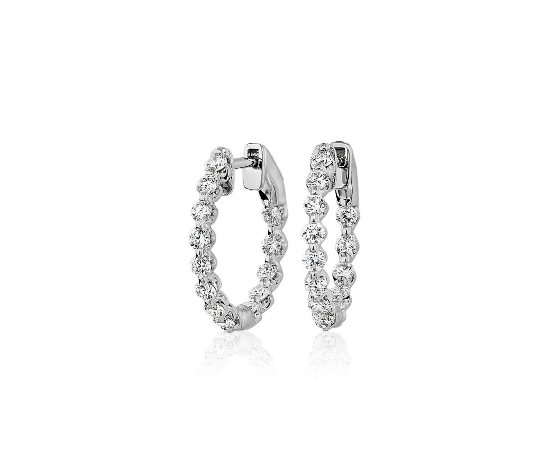 Floating Diamond Hoop Earrings in 14k White Gold (0.95 ct. tw)