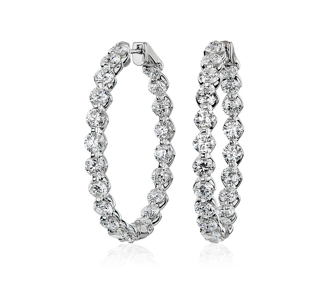 Floating Diamond Hoop Earrings in 14k White Gold (10 ct. tw)