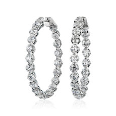 NEW Floating Diamond Hoop Earrings in 14k White Gold (10 ct. tw)