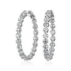 新款 14k 白金懸浮鑽石圈形耳環 (10 克拉總重量)