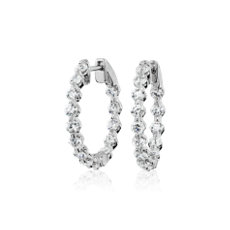 新款 14k 白金懸浮鑽石圈形耳環 (2 克拉總重量)