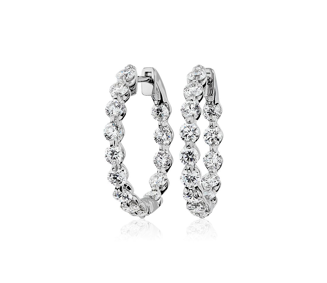 Floating Diamond Hoop Earrings in 14k White Gold (2.95 ct. tw)