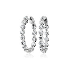 新款 14k 白金浮钻石圈环形耳环(3 克拉总重量)
