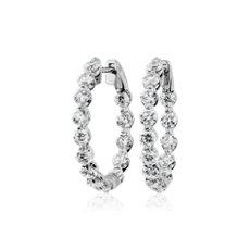 NEW Floating Diamond Hoop Earrings in 14k White Gold (3 ct. tw)