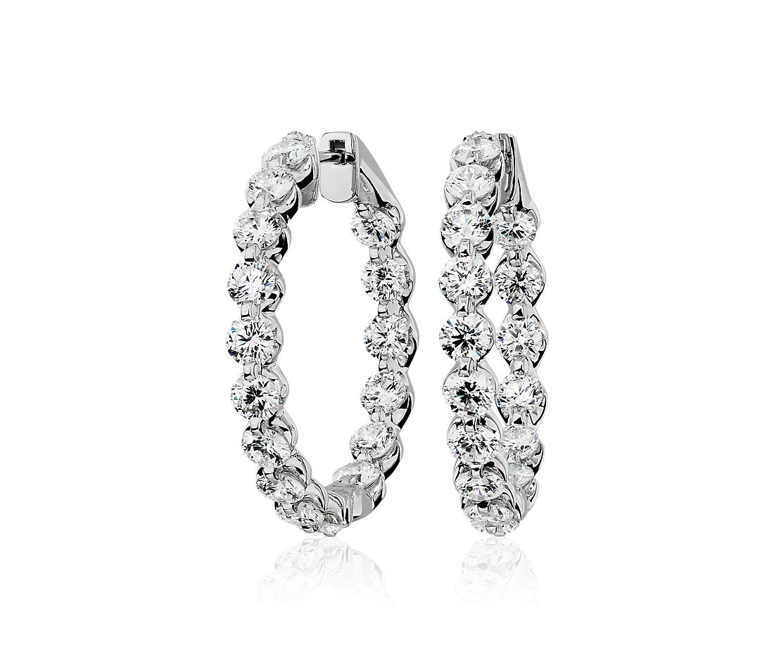 Floating Diamond Hoop Earrings in 14k White Gold (5 ct. tw)