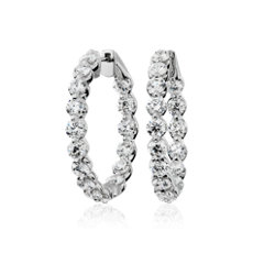 新款 14k 白金懸浮鑽石圈形耳環 (5 克拉總重量)