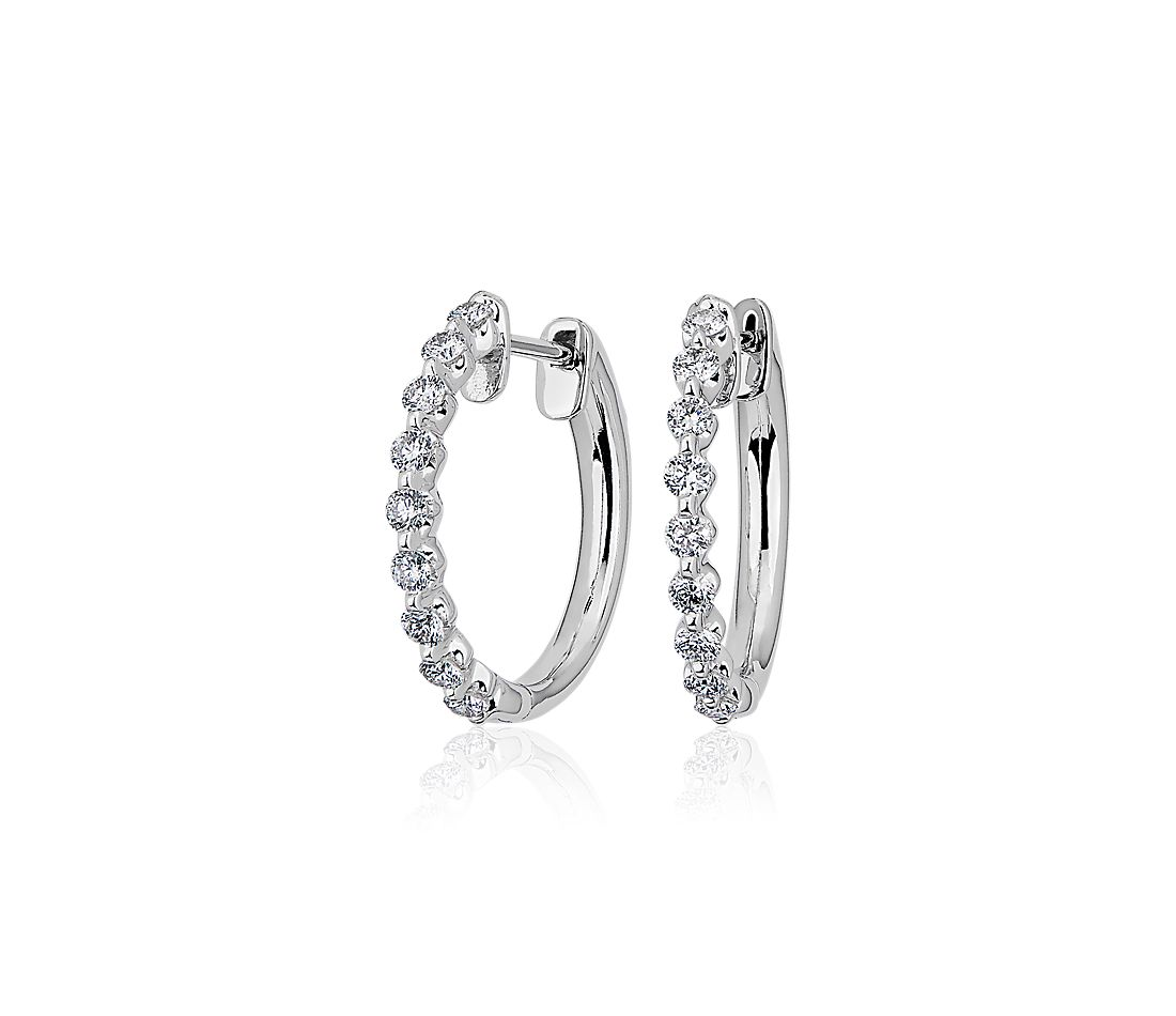 Floating Diamond Hoop Earrings in 14k White Gold (1/2 ct. tw)