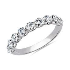 NOUVEAU Alliance diamant flottant en or blanc 14carats (1carat, poids total)