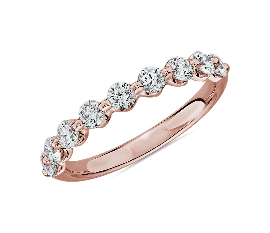 Floating Diamond Wedding Ring in 14k Rose Gold - I/SI2 (3/4 ct. tw.)