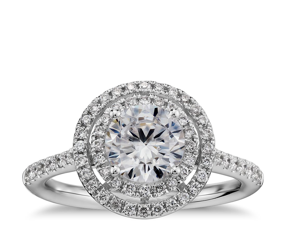 floating double halo diamond engagement ring in 14k white. Black Bedroom Furniture Sets. Home Design Ideas