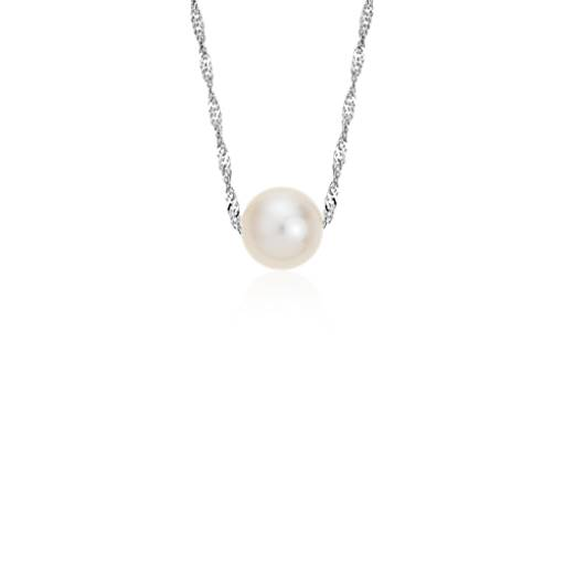 Freshwater Cultured Pearl Floating Pendant In 14k White