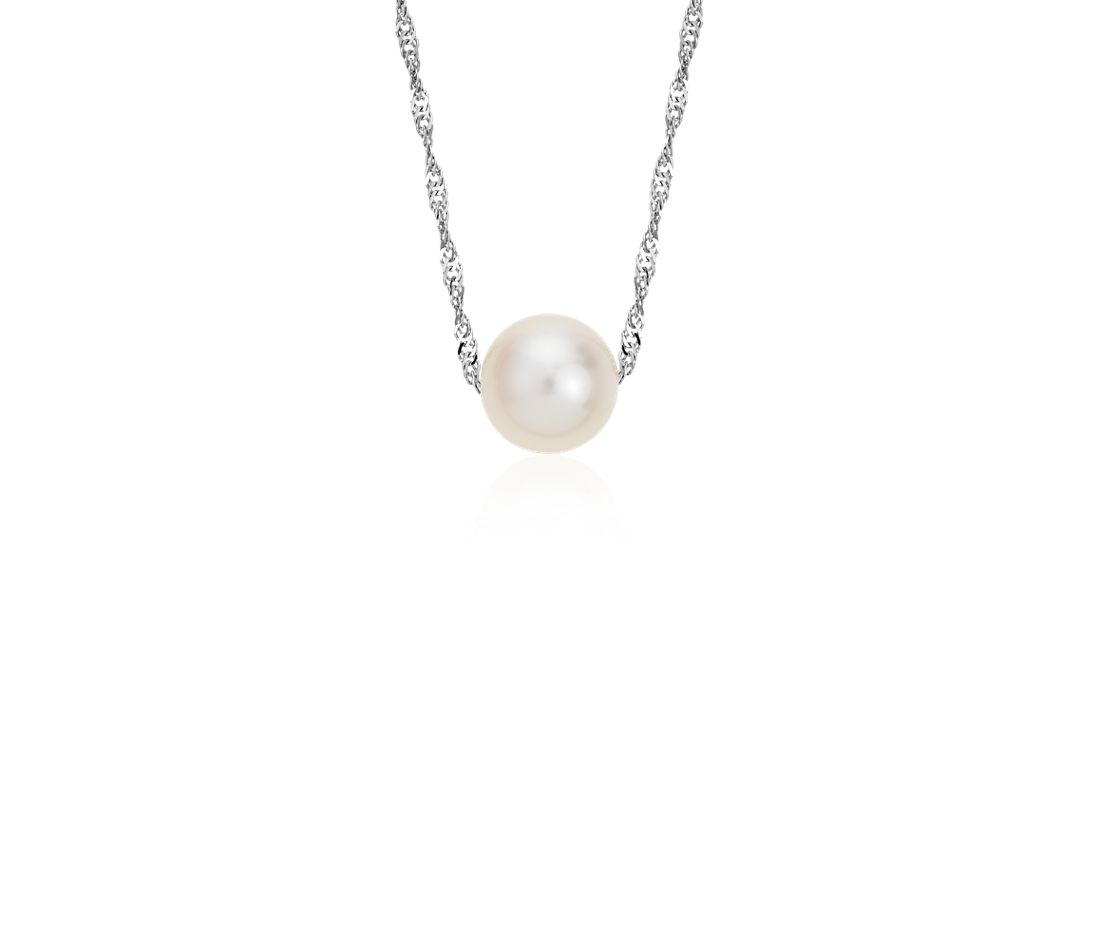 Freshwater Cultured Pearl Floating Pendant in 14k White Gold (7.5mm)