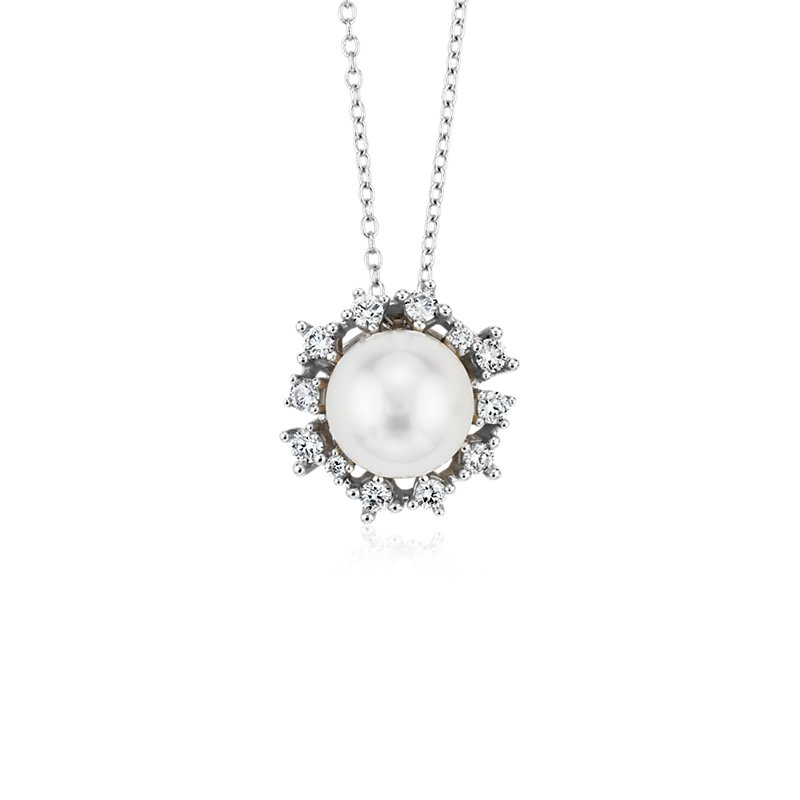 Floating Freshwater Cultured Pearl Pendant with Scatter Diamond H
