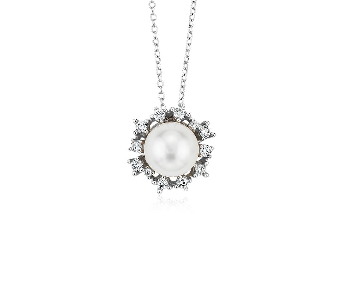 Floating Freshwater Cultured Pearl Pendant with Scatter Diamond Halo in 14k White Gold (7.5-8mm)