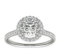 铂金漂浮金光环钻石订婚戒指<br>(1/3 克拉总重量)