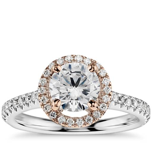 Floating Halo Diamond Engagement Ring In 14k White And