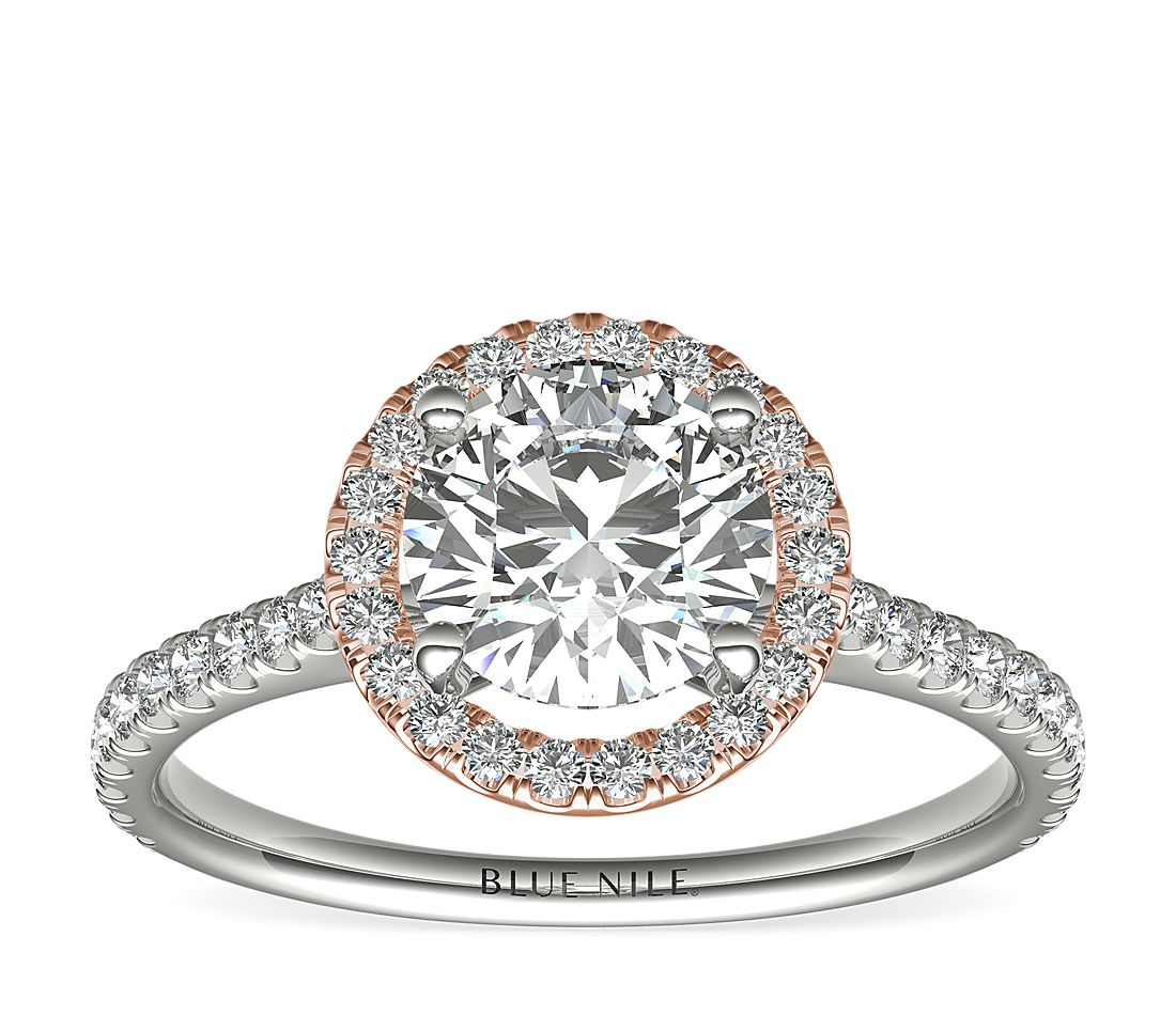59e81b1c48fb5 Floating Halo Diamond Engagement Ring in 14k White and Rose Gold (1/3 ct.  tw.) | Blue Nile