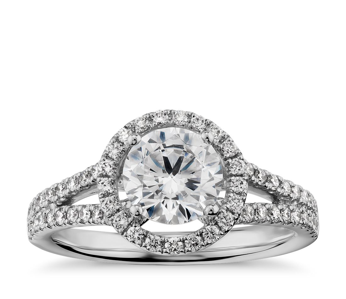 Split Shank Floating Halo Diamond Engagement Ring in 14k White Gold (1/3 ct. tw.)