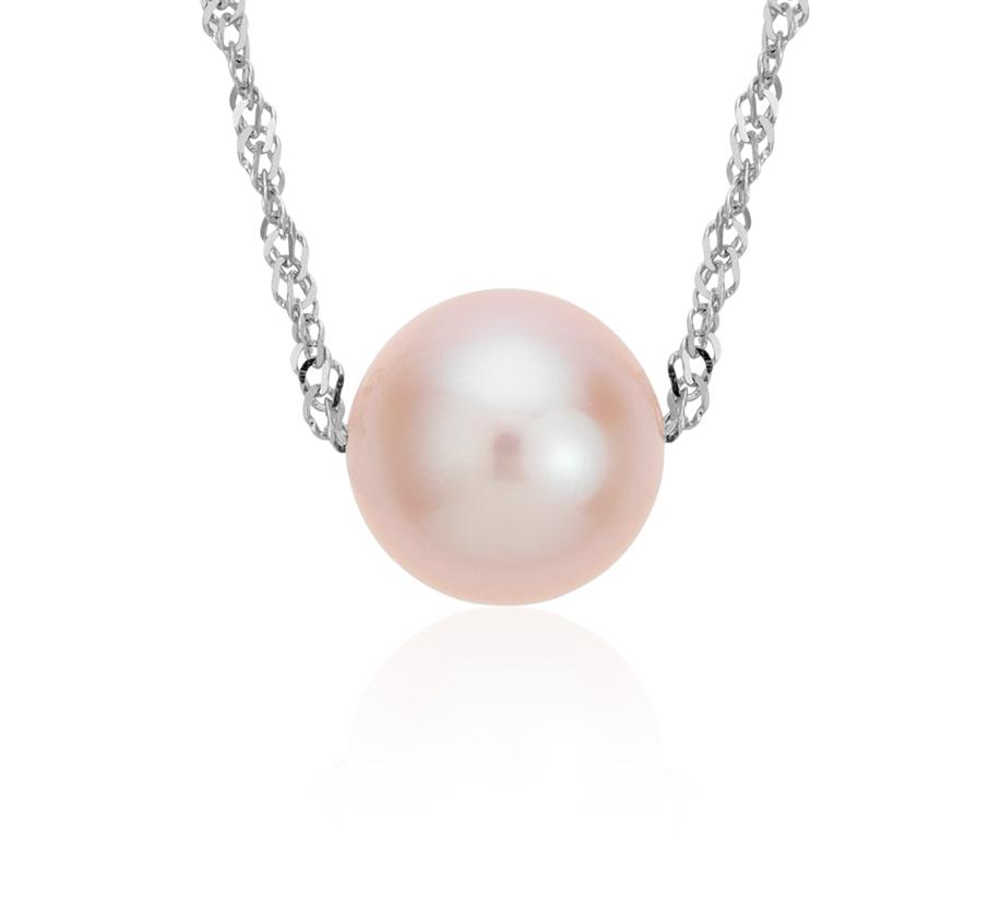 Pendentif solitaire perle de culture d'eau douce flottante rose en or blanc 14carats (7,5mm)