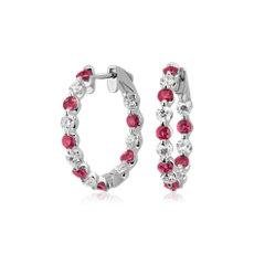 Créoles diamants et rubis ronds flottants en or blanc 14carats (2,6mm)