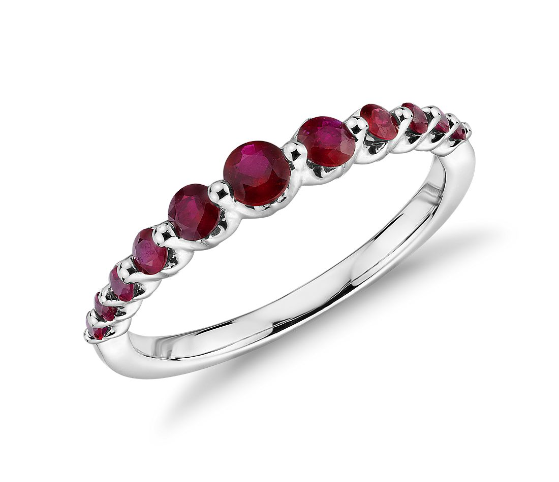 Floating Ruby Ring in 14k White Gold (1.4mm)