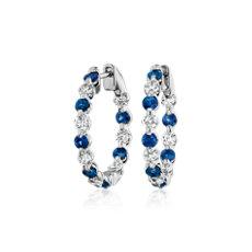 14k 白金浮动蓝宝石和钻石圈形耳环