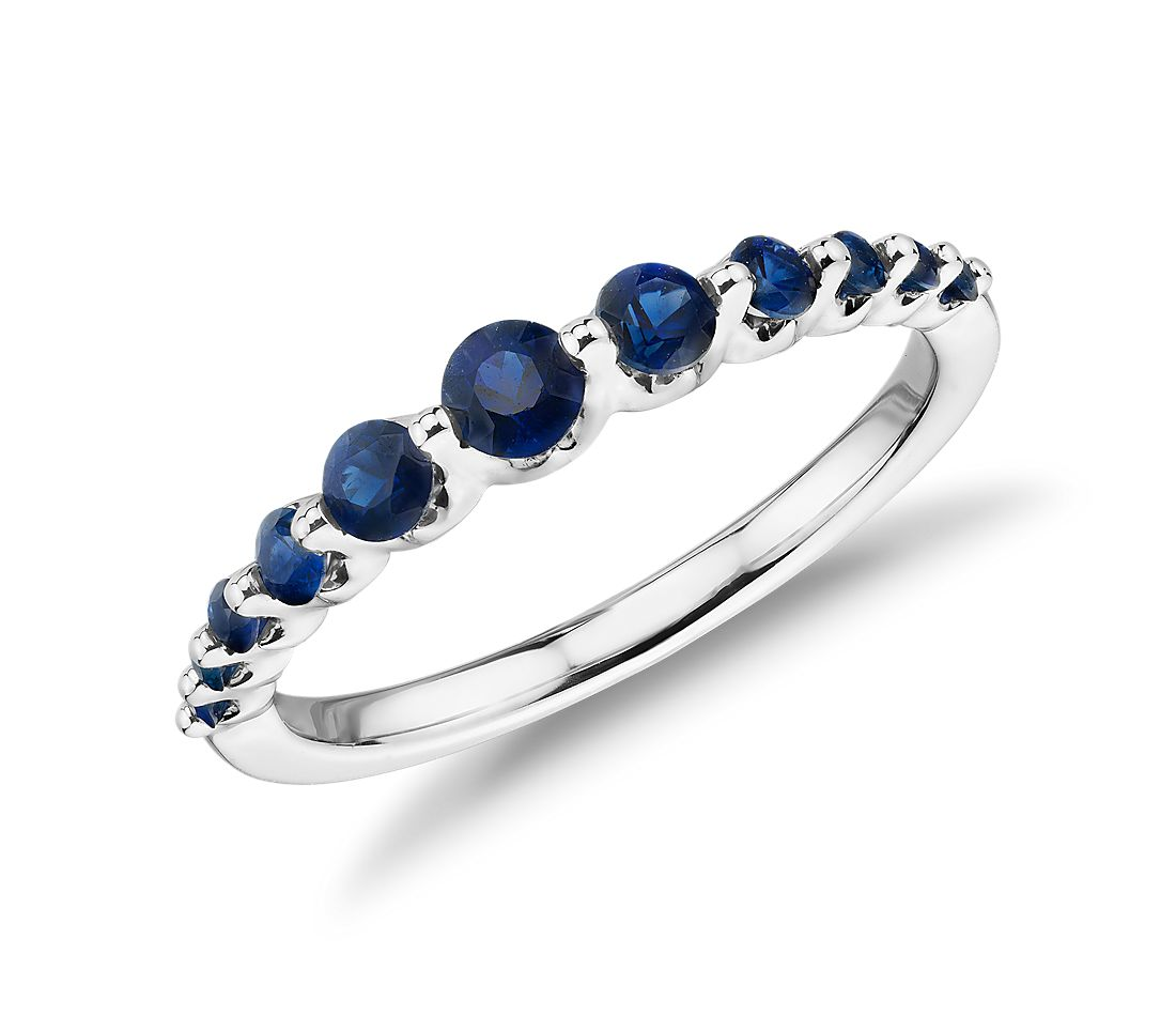 Floating Sapphire Stacking Ring in 14k White Gold