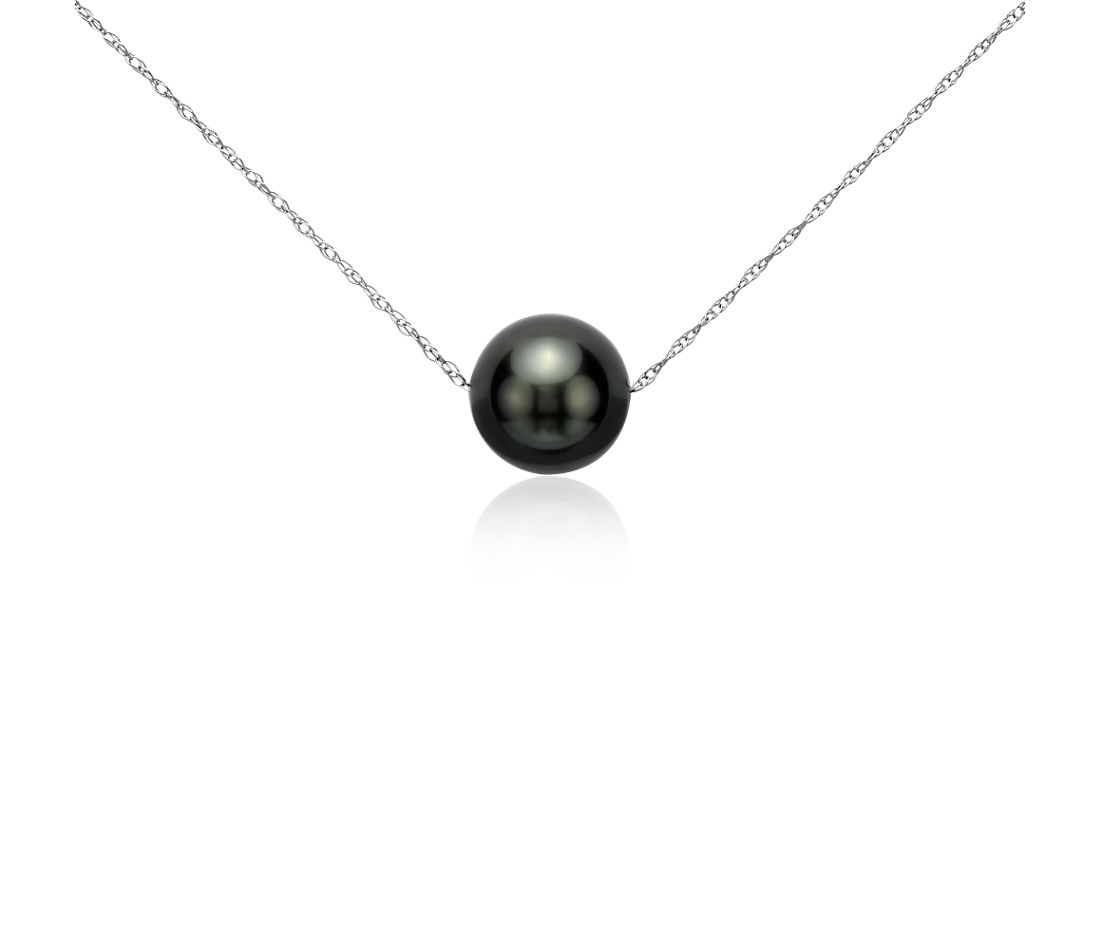 b793c79767e5a Floating Cultured Tahitian Pearl Pendant in 14k White Gold w/16inch chain
