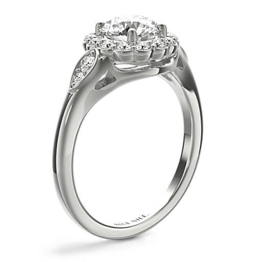 花卉生命®光環鑽石訂婚戒指
