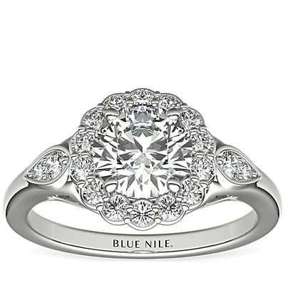 Flora Vida® Halo Diamond Engagement Ring in Platinum