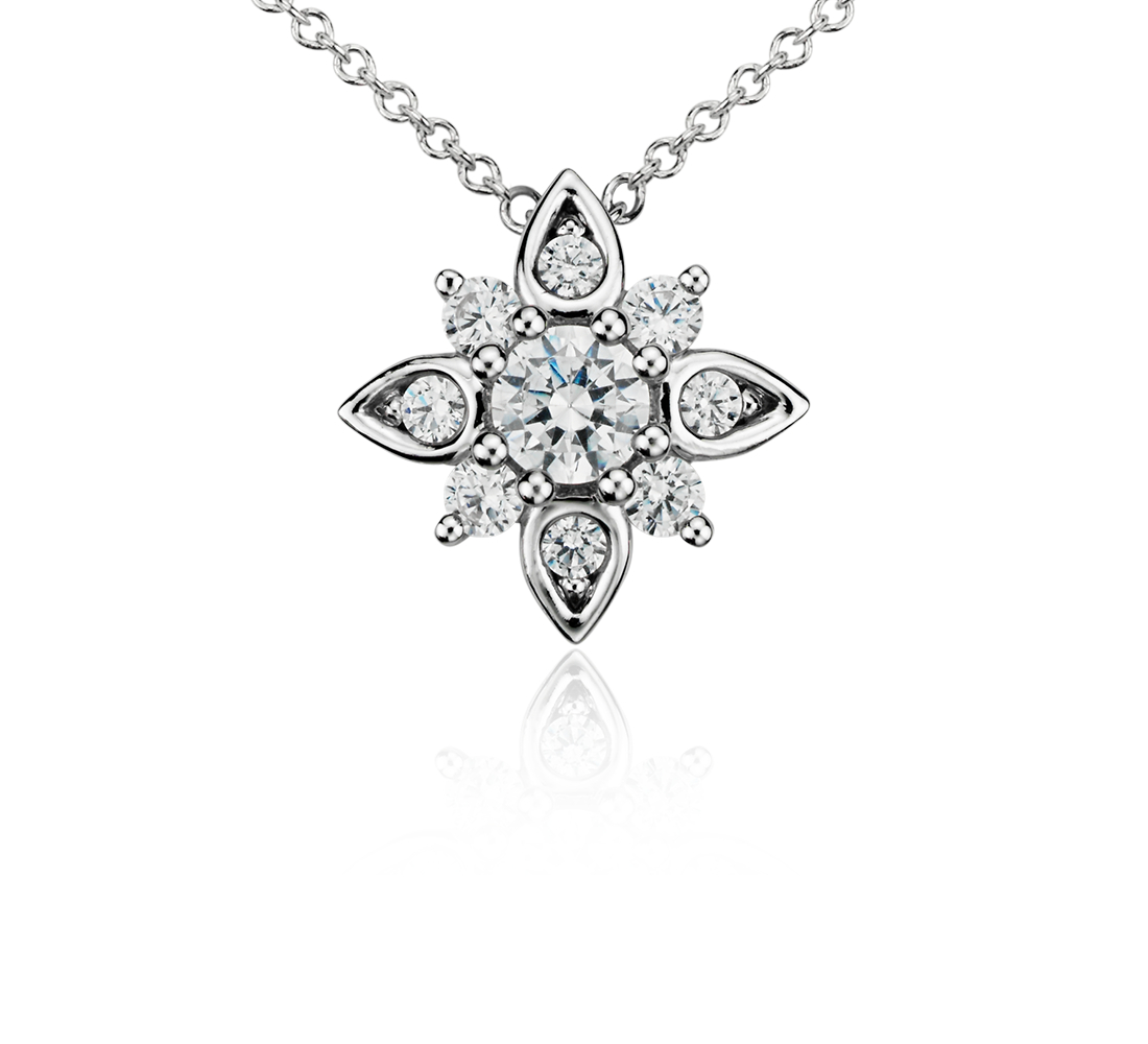 Colgante de diamantes con forma de roseta en oro blanco de 14 k (1/2 qt. total)