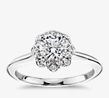 Floral Halo Diamond Engagement Ring