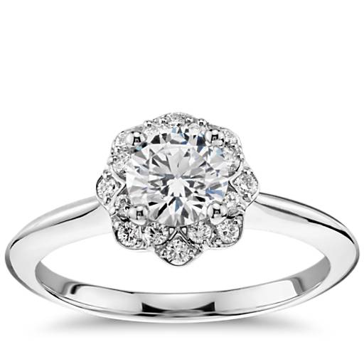 Floral Halo Diamond Engagement Ring In 14k White Gold 1