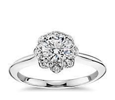 14k 白金花卉光环钻石订婚戒指(1/10 克拉总重量)