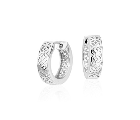 "Floral Huggie Hoop Earrings in Sterling Silver (9/16"")"