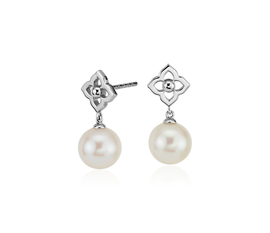 Freshwater Cultured Pearl Floral Drop Earrings in 14k White Gold (8-8.5mm)