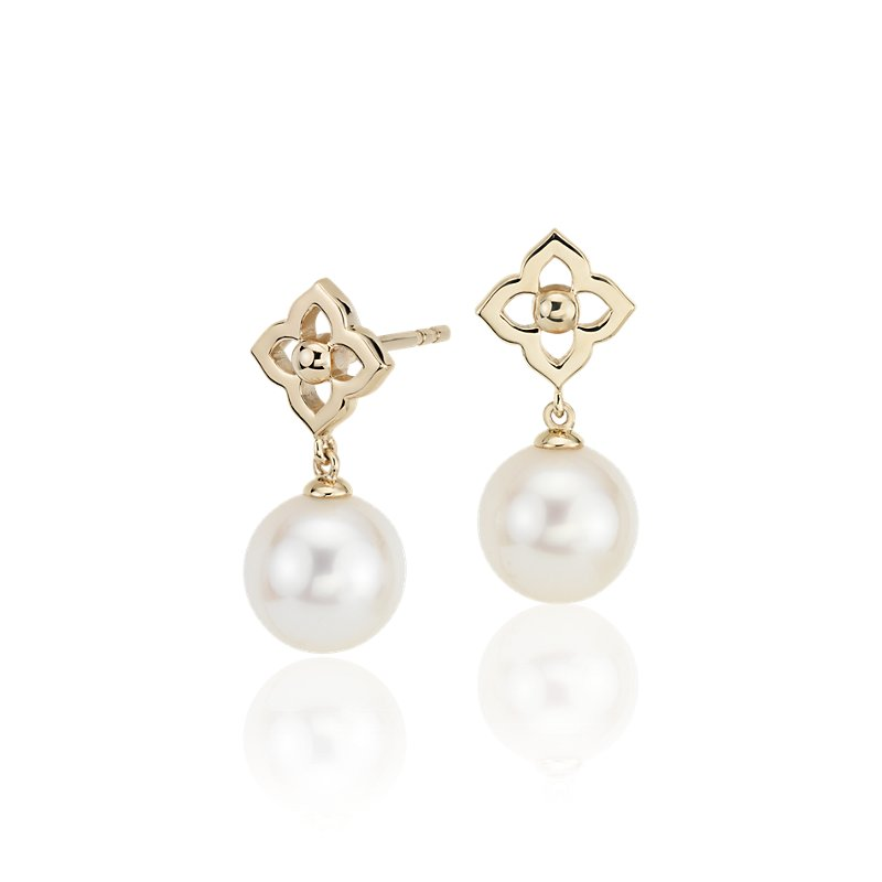 Freshwater Cultured Pearl Floral Drop Earrings in 14k Yellow Gold