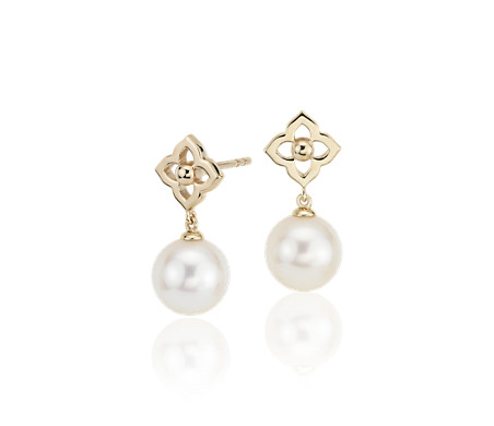 Freshwater Cultured Pearl Floral Drop Earrings in 14k Yellow Gold (8-8.5mm)