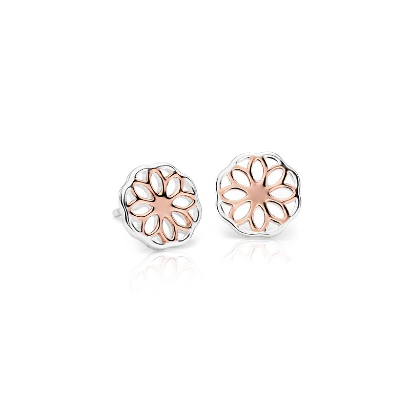 Floral Stud Earrings in Rose Gold Vermeil and Sterling Silver