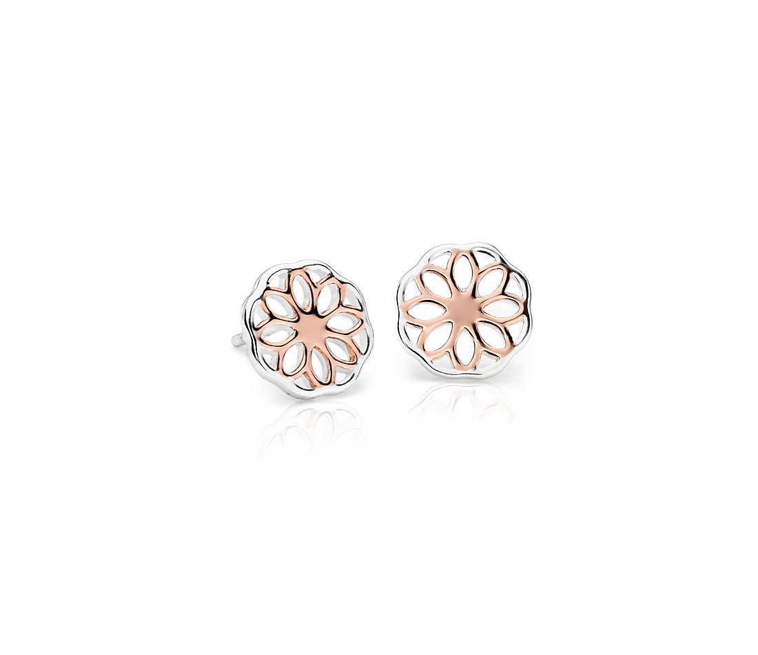 Floral Stud Earrings in Rose Gold and Sterling Silver