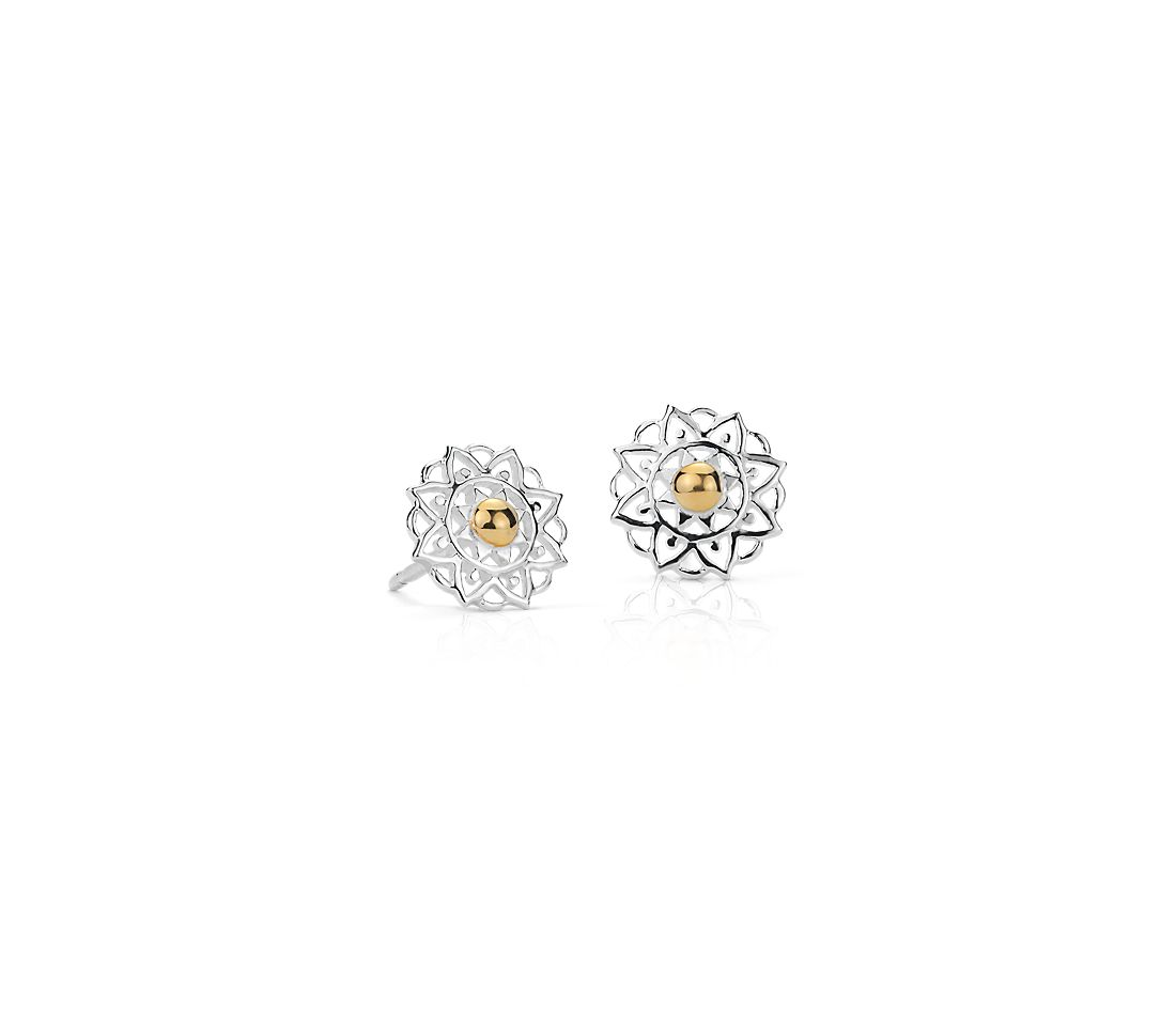 Floral Sunburst Stud Earrings in Sterling Silver and Yellow Gold Vermeil