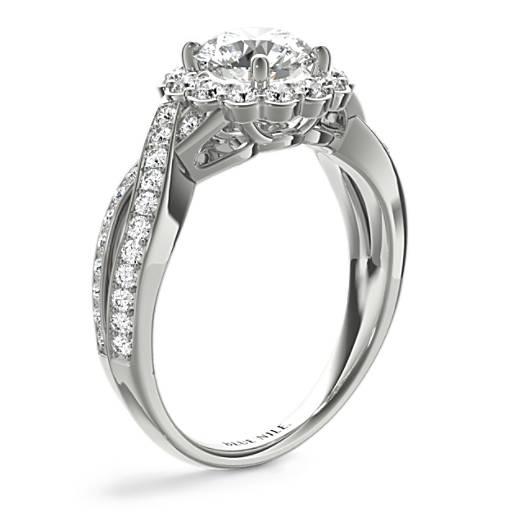 Floral Twist Diamond Halo Engagement Ring