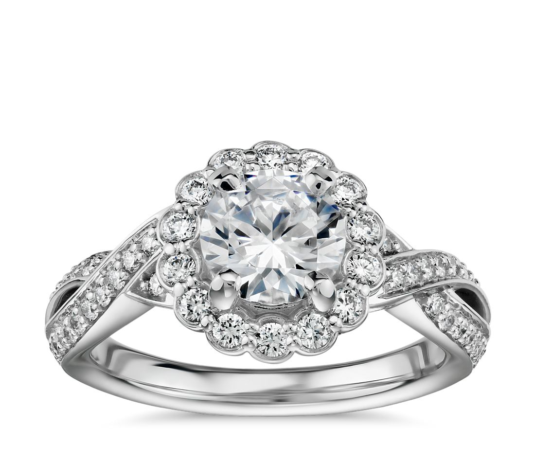 Floral Twist Diamond Halo Engagement Ring in 14k White Gold (3/8 ct. tw.)