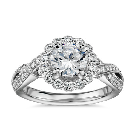 Floral Twist Diamond Halo Engagement Ring in 14k White Gold (2/5 ct. tw.)